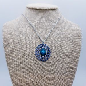 Gorgeous Blue Monet Pendant On A Silver Chain